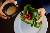Spring Chard Rolls with Ginger Peanut Sauce