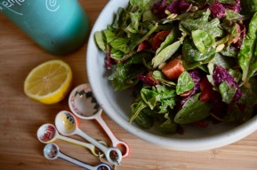 Baby Kale and Beet Salad with Lemon and Tahini Dressing