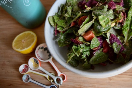 Baby Greens Beets and Pumpkin Seed Salad