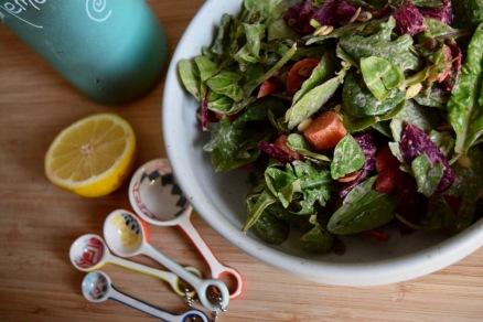 Baby Greens Beets and Pumpkin Seed Salad